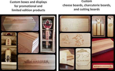 corporate promotional items laser engraved woodworking cheese boards boxes displays plaques cutting board corporate logo