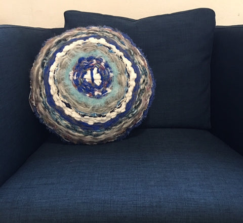 Ahadi Handwoven Macaron Pillow Blue & White with African Fabric