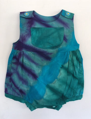 Ahadi Collective: Baby Bubble/Romper African Dyed Kamanyola Fabric Blue/Purple