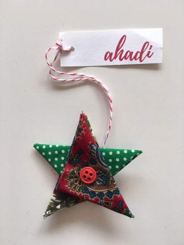 Ahadi Upcycled, Handmade Star Holiday Ornament with Button