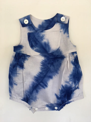 Ahadi Collective: Baby Bubble/Romper African Dyed Kamanyola Fabric Blue/White