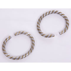 Copper and Silver-Colored Striped Bangle