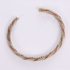 Gold and Copper-Colored Twisted Bangle