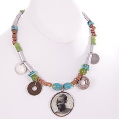 Smiling Woman with Earrings Necklace