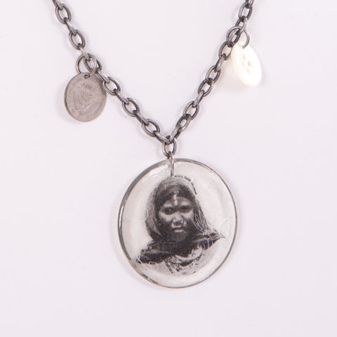 Woman with Scarf Necklace