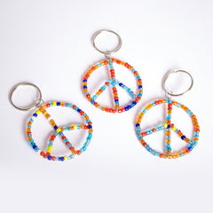 Beaded Peace Sign Keychain
