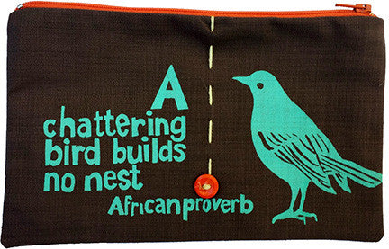 handcrafted fair trade African proverb pencil case featuring sparrow