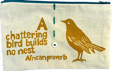 handcrafted fair trade African proverb pencil case featuring a sparrow