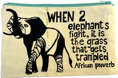 handcrafted fair trade African proverb pencil case featuring an elephant walking with its trunk raised