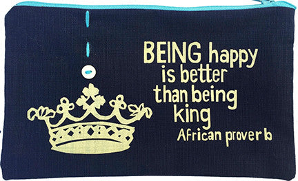handcrafted fair trade African proverb pencil case featuring a crown