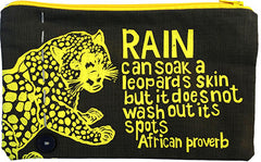handcrafted fair trade African proverb with roaring leopard