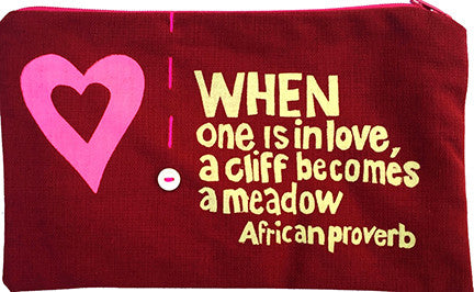 handcrafted fair trade African proverb pencil case with pink heart