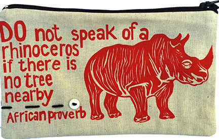 handcrafted fair trade African proverb pencil case featuring a rhinocerous