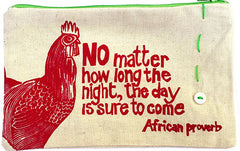 Handcrafted fair trade African proverb pencil case with rooster