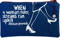 handcrafted fair trade African proverb pencil case with woman's feet in heels walking
