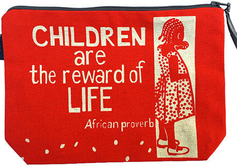 handmade fair trade pouch purse featuring child with text saying children are the reward of life