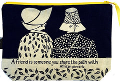 handcrafted fair trade African proverb pouch purse featuring two women friends in hats walking together