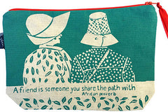 "handcrafted fair trade African proverb pouch purse featuring two women with the text ""a friend is someone you share the path with"""