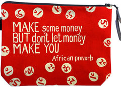 handcrafted fair trade African proverb pouch purse with coin print