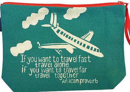 handcrafted fair trade African proverb pouch purse featuring an airplane flying in the clouds