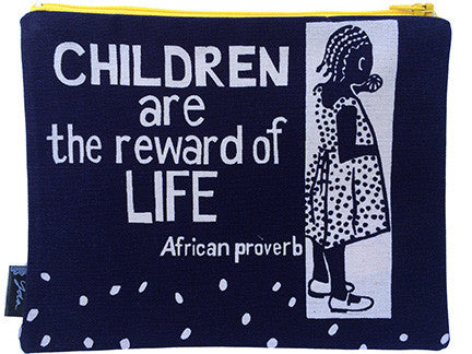 African zipper purse - Children are the reward of life.