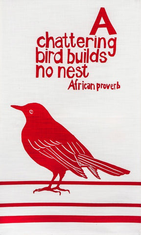 Fair Trade African bird tea towel - red - handprinted by women's project