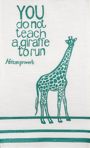 "Hand printed african proverb tea towel feat. giraffe and text saying ""you do not teach a giraffe to run"" in mint"