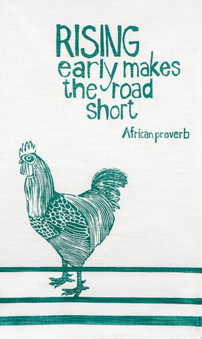 "fair trade hand printed african proverb tea towel feat. image of rooster with text saying ""rising early makes the road short"" in mint"