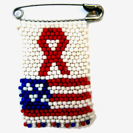 Beaded pin - AIDS & U.S.A. Flag