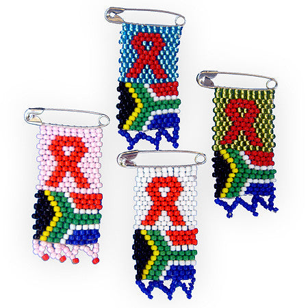 Beaded pin - AIDS & South Africa Flag