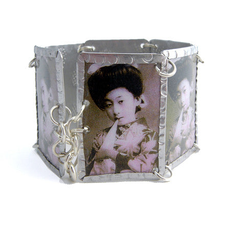 Asian Lady Image Bracelet - Black & White by Beverly Price