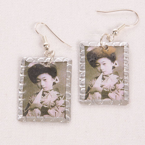 Asian Lady Image Earrings - Black & White by Beverly Price