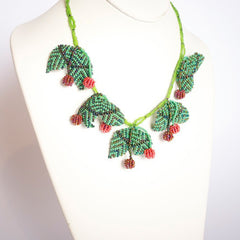 Necklace - African Glass Beads - Cherry & Leaf