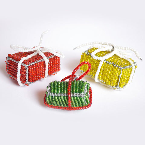 Beaded Gift Box Ornament