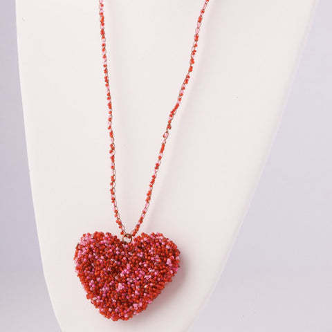 Beaded Heart Pendant Necklace