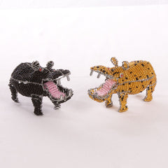 Bead and Wire Animal Ornament - Hippopotamus