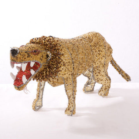 Bead and Wire Animal Ornament - Lion