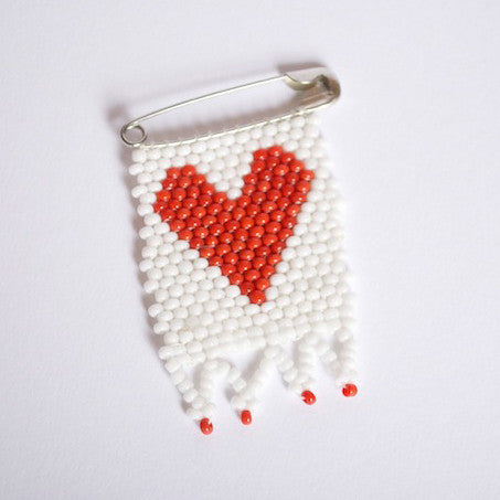 Beaded Heart Flag Pin