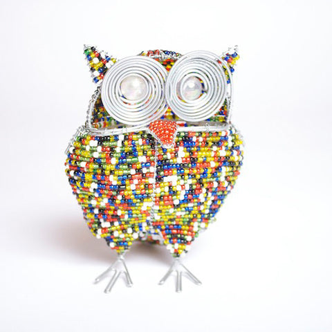 Bead and Wire Bird Ornament - Owl