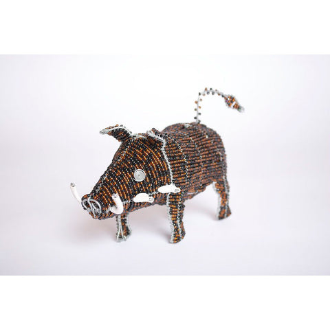 Bead and Wire African Wild Pig Ornament - Warthog