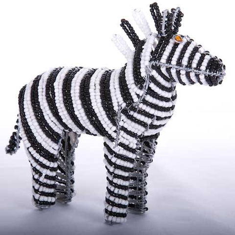 Bead and Wire African Wild Horse Ornament- Zebra
