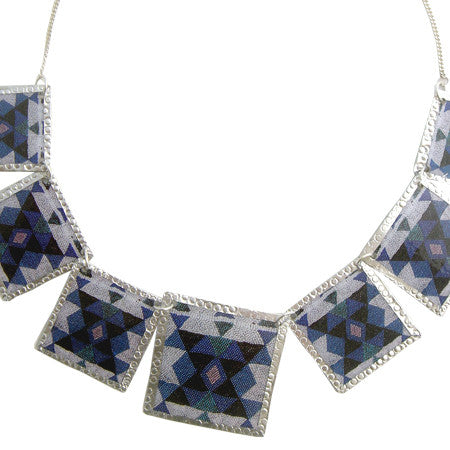 Blue Beadwork Images Necklace