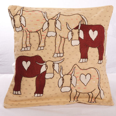 Embroidered Cow Cushion Cover