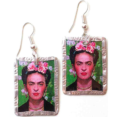 Frida Kahlo Earrings #2 by Beverly Price