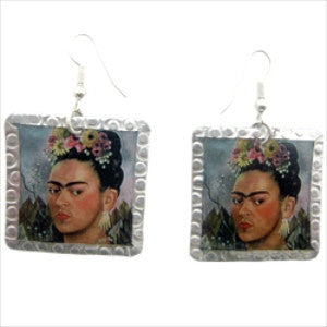 Frida Kahlo Earrings #1 by Beverly Price