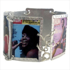 Mixed Drum Magazine Images Bracelet by Beverly Price