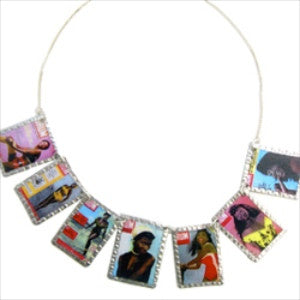 Mixed Drum Magazine Images Necklace