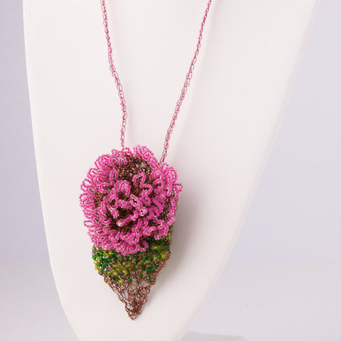 Beaded Rose and Leaf Pendant Necklace
