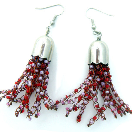 Wire and Bead Tassle Earrings