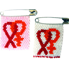 Beaded pin - Women's Solidarity & AIDS Ribbon